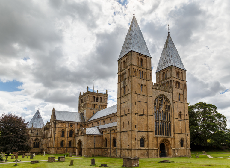 Southwell Minster showing the West side and North side